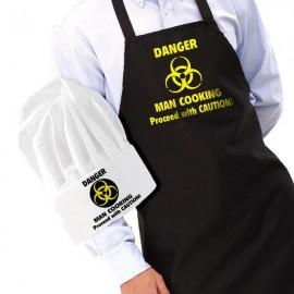Keukenschort en muts 'Danger Men Cooking'