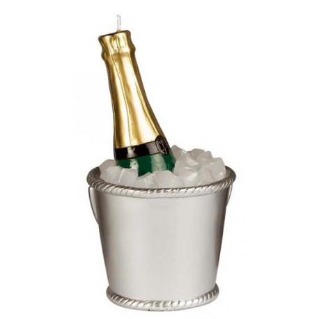 "Kaars ""Champagne Fles in IJs-Emmer"""