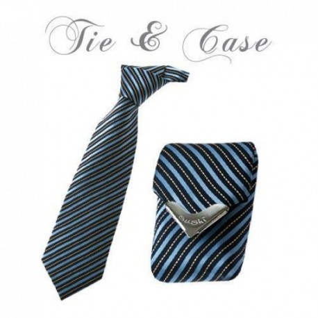 "Tie & Case ""Blue Shadow Stripes"""