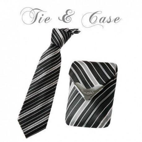 """Tie & Case """"Silver Shadow Stripes"""""""