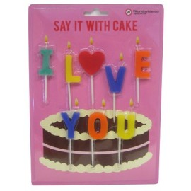 "Cake Candles ""I Love You"""