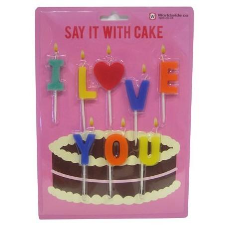 "Cake Candles ""I Love You"""
