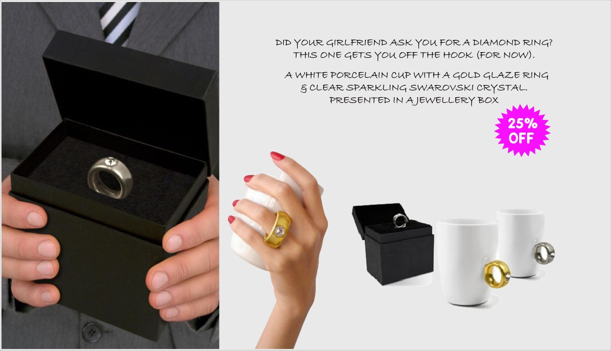 cup with diamant ring